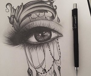 art, eye, and black and white image