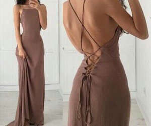 Nude and lace up dress image