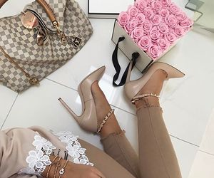 flowers, heels, and pink image