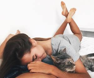 boy, cat, and girl image