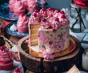 cherry, cupcake, and pink image