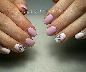 flowers, nail art, and pink image