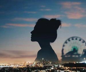 city, city lights, and girl image