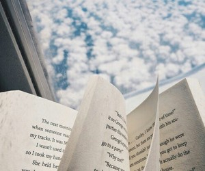 book, clouds, and sky image
