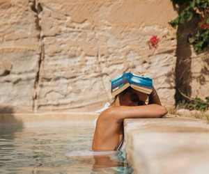 book, summer, and pool image