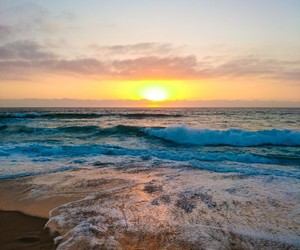 clouds, ocean, and sunrise image