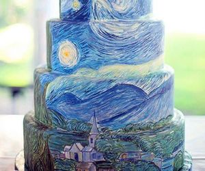 art, cake, and starry night image
