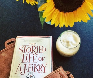 book, coffee, and sunflower image