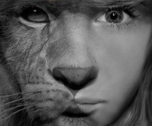 black and white, girl, and lion image