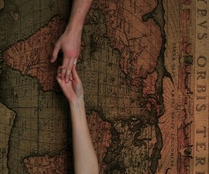 couple, travel, and hands image