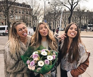 friends, flowers, and fashion image