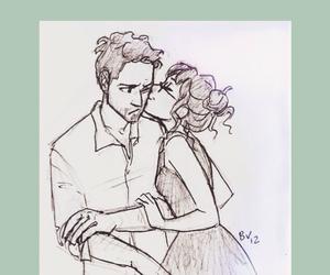 kiss, couple, and sketch image
