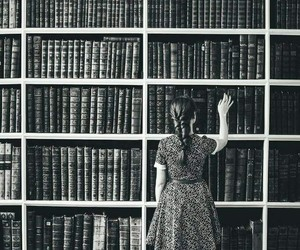 library, books, and girl image