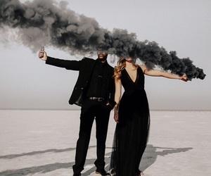 black, couple, and smoke image