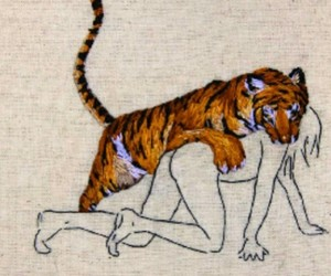 tiger, art, and woman image