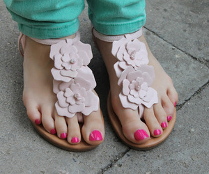 fashion, sandals, and floral image