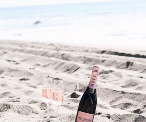 beach, summer, and champagne image