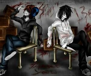jeff the killer, eyeless jack, and creepypasta image