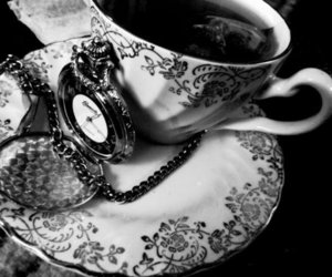 clock, tea, and black and white image