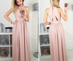 gold, Nude, and maxidress image