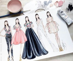 drawing, art, and dress image