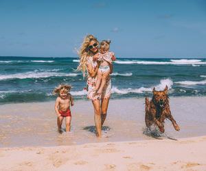 baby, beach, and dog image