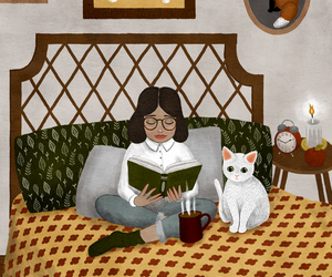 book, cat, and read image