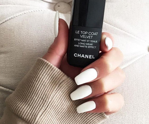 nails, white, and chanel image
