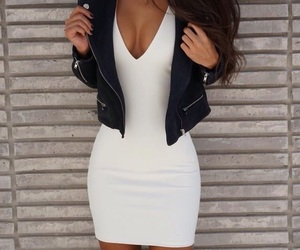 dress, girl, and leather image