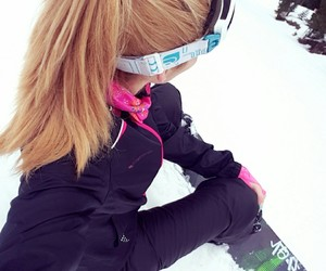 girl, snowboard, and snowboarding image