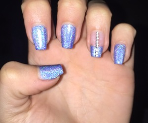 baby blue, blue nails, and holographic image