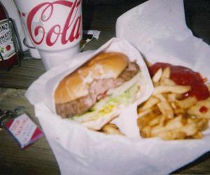 food, coca cola, and hamburger image