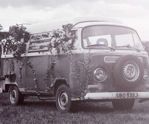black and white, car, and flowers image