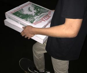 pizza, boy, and dark image