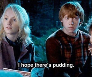 harry potter, luna lovegood, and pudding image