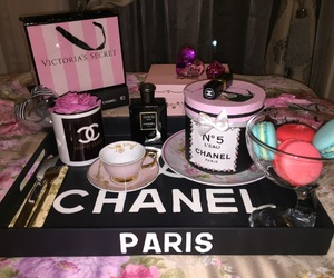 bed, chanel, and coffe image