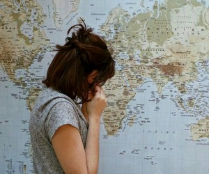 girl, map, and travel image