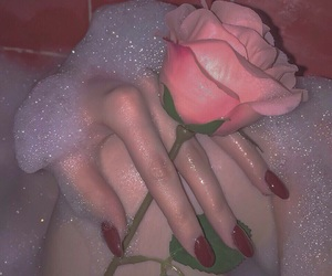 bubble bath, nails, and red image