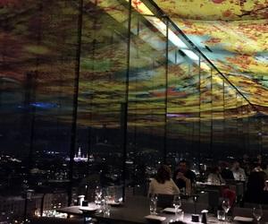 city lights, wine, and beautiful view image