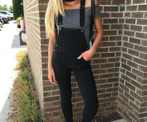 blonde, overall, and fashion image