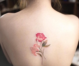 tattoo, watercolor, and floral image
