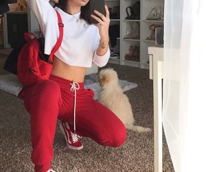 outfit, girl, and red image