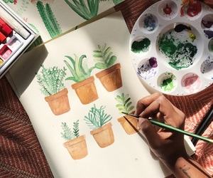 art, plants, and cacti image