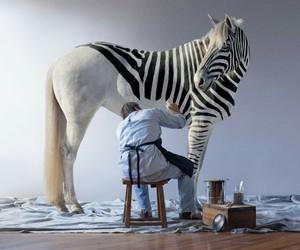 zebra, horse, and art image