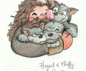 harry potter, hagrid, and fluffy image