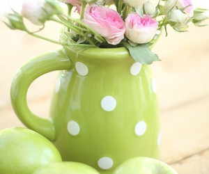 flowers, apple, and green image