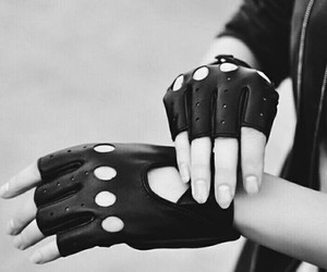 leather, black and white, and gloves image
