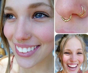 gold, nostril, and piercing image