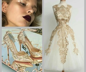 gold, outfit, and party image