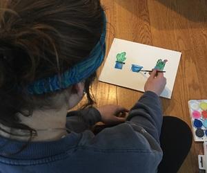 art, bun, and cactus image